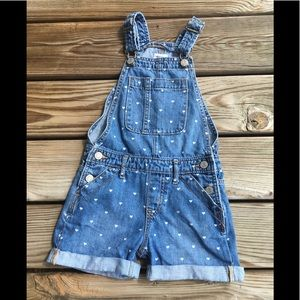 GAP KIDS DENIM HEART SHORTALLS SIZE SMALL